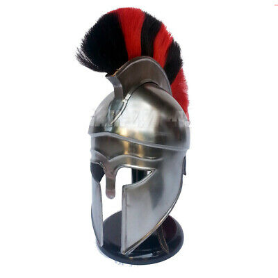 Medieval Greek Corinthian Black / Red Plume Crusader Knight Armor Helmet a