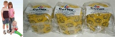 """ANDOVER CO-FLEX 2""""x5Yds 3-PACK Neon Yellow Smiley Face Flexible Elastic Bandages"""