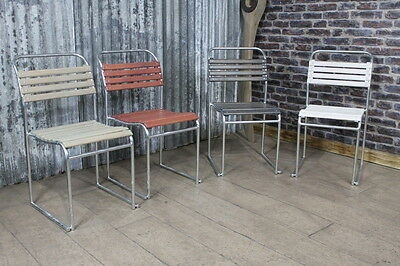 Galvanised Exterior Oiled Slatted Stacking Dining Chairs Garden Patio Chairs