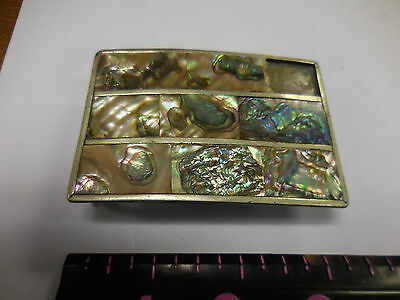 Vintage Alpaca Mexico Belt Buckle Abalone Puau Shell Inlay-MISSING ONE INLAY