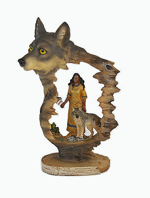 Native American Maiden with Wolf Statue Figurine