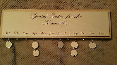 Personalised Engraved  Wooden Birthday Board Calender. Special Dates.