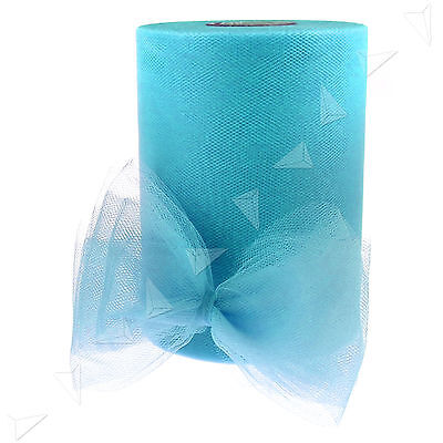 "6"" Blue TULLE FABRIC SPOOL ROLL TULLE 6"" X 100 YARDS wedding craft"