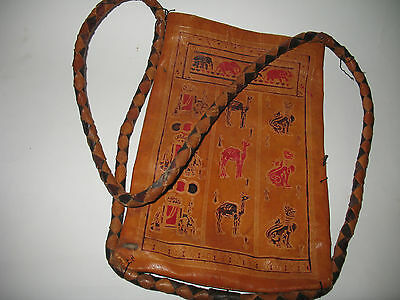 Antique Egyptian Symbol Leather Bag Elephant Camel Cat with Braided Strap