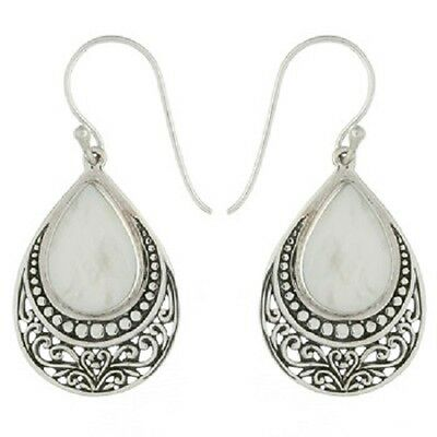 Handmade earrings Ajoure 925 silver with Dangling Mother of Pearl Drop 39mm Art