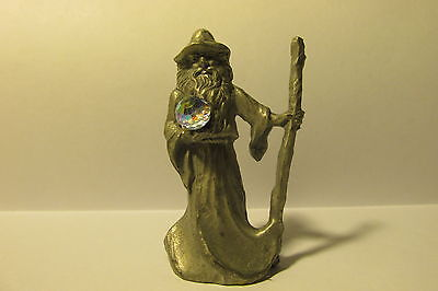 Pewter Fantasy Wizard With Crystal Ball