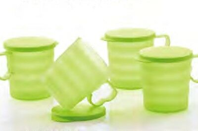 Tupperware Green Blossom Mugs (4) with Seals Cups