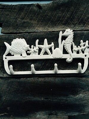 2 Cast Iron NAUTICAL White Towel Coat Hook Key Rack SEAHORSE, STARFISH, FISH