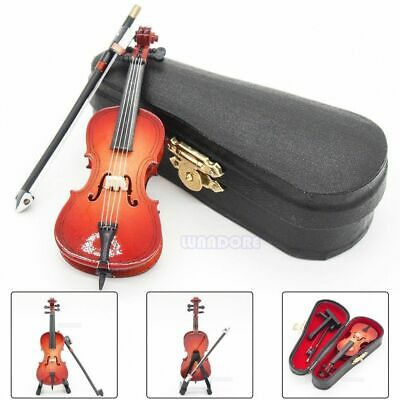 Cello Violin Bow 1:12 Wood Miniature Musical Instrument with Case & Stand Gift