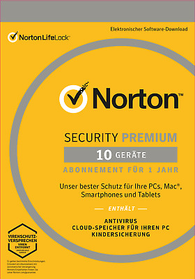 NORTON (Internet) SECURITY PREMIUM (2019) 10-Gerät / 1-Jahr PC/Mac/Android / KEY