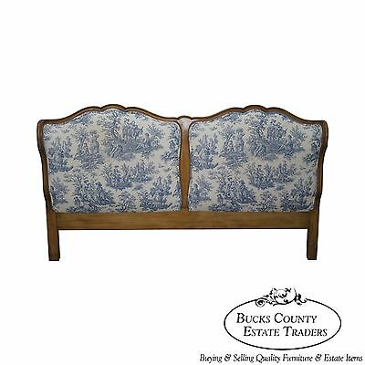 Vintage French Louis XV Style King Size Headboard w/ Toile Upholstery