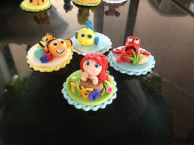 Edible Crab Flounder Under the Sea Mermaid Ariel inspired Fondant Cake toppers