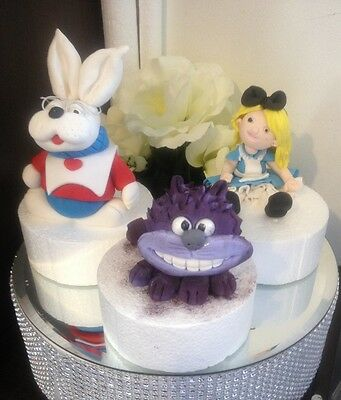 Alice in Wonderland inspired Rabbit Cheshire Cat or Rabbit Fondant Cake toppers