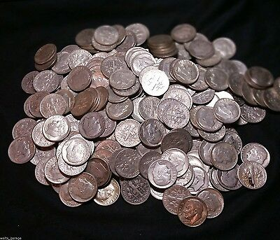 Silver Roosevelt Dime, 90% Silver Circulated Dimes, 1946-1964, Free Shipping