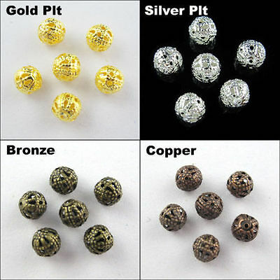 Round Filigree Spacer Beads DIY 4mm,6mm,8mm,10mm,12mm,14mm,16mm Gold,Silver Plt.