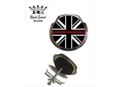 Royale Car Grill Badge + Fittings - THIN RED LINE FIRE FIGHTER BRIGADE - B2.2356