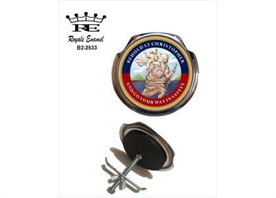 Royale Car Grill Badge + Fittings - BEHOLD SAINT ST CHRISTOPHER - B2.2533