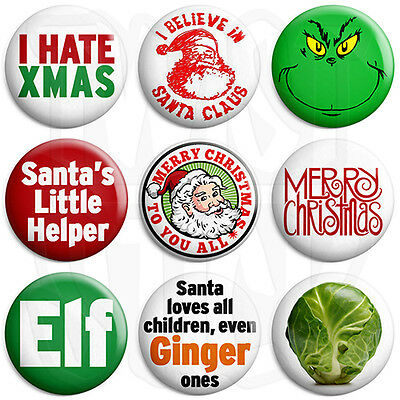 Christmas - Various Designs - 25mm Xmas Button Badge with Fridge Magnet Option
