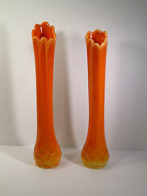 Pair 17 Tall Vases Burnt Orange Gold Color Double Handled Bird