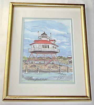 Drum Point Lighthouse Matted & Framed Print Under Glass by Donna Elias 1994