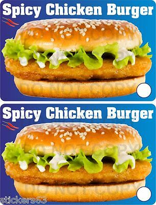 Spicy Chicken Burger stickers  set of 2  catering takeaway cafe BBQ fish shop