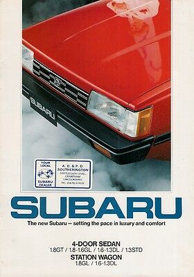 Subaru 1.3 1.6 1.8 L-Series 1984-85 UK Market Sales Brochure DL GL GT