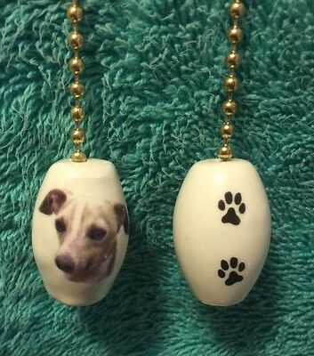 One Whippet Dog Fan Pull With Paw Prints On The Back 1""