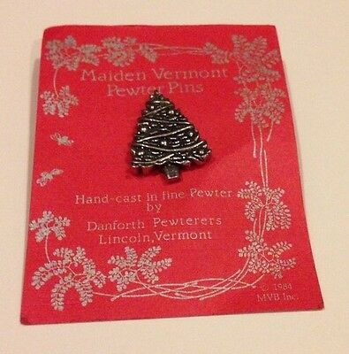 Vintage Hand Cast Pewter Maiden Vermont Christmas Tree Brooch Pin, New