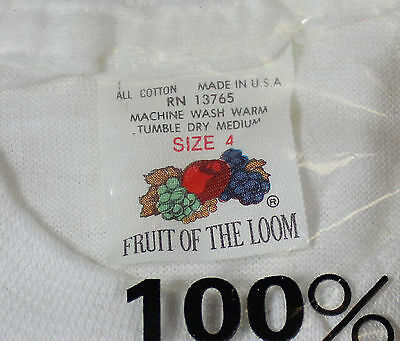NOS VTG 80s LOT Of 6 FRUIT OF LOOM Boys T-SHIRTS White Crewneck Sz 4 Made In USA