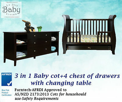 BRAND NEW Furniture Combo Set- Baby Cot 3in1 Convertible + 4 Chest of Drawers