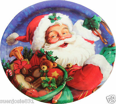 Santa Claus Christmas Holiday Dessert Plates 8ct Party Supplies