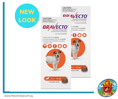 Bravecto for Small Dogs 4.5-10kg 2 Chews (6 month treatment pack)