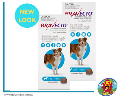 Bravecto for Large Dogs 20 - 40kg x 2 Chews (6 months prevention)