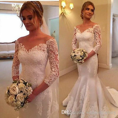3/4 Sleeve Sweetheart Neck Mermaid Lace Bridal Gowns V-Neck Wedding Dress