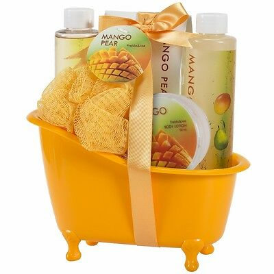 Mango Pear Bath Gift Basket Body Lotion Bubble Bath & More Valentine's Day Gifts