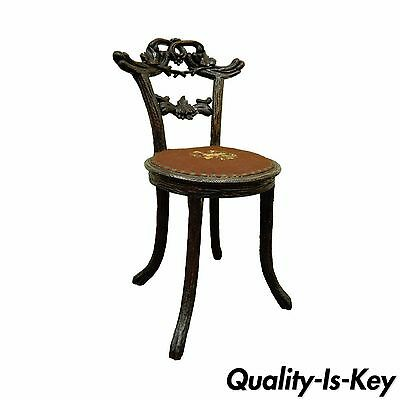 Antique Black Forest Faux Bois Carved Mahogany Twig Branch Side Vanity Chair