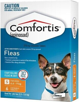 Comfortis Orange 6 pack for Small Dogs 4.6-9kg and Cats 2.8-5.4kg