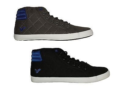 Mens Trainers Voi Canton Hi Top Lace Up Black Charcoal Mid Top Sneakers 6 - 12