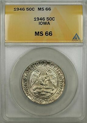 1946 Iowa Centennial Silver Half-Dollar Coin 50C ANACS MS-66 (Light Toning 9B)