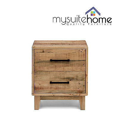 Portland Solid Recycled Pine Timber Bedside Table Nightstand with Storage Drawer