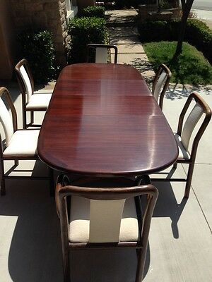 Danish Mid-Century Modern Rosewood Dining Set with 2 Leafs & 6 Chairs