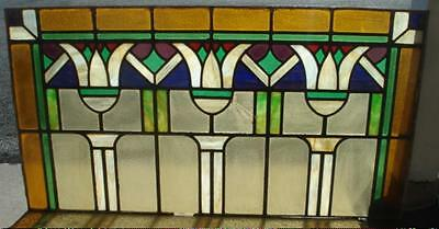 "LEADED GLASS Window 51""x 27.5""PRAIRIE DESIGN Arts & Crafts STAINED GLASS TULIPS"