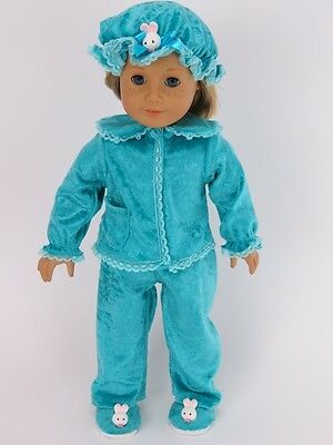 """Doll Clothes 18"""" Pajamas Colonial Velvet Teal Fits American Girl Dolls"""