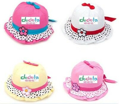 Dudula Quality Baby Girl Cotton Sun Hats Multi-Colors Suitable 6mths to 2 years
