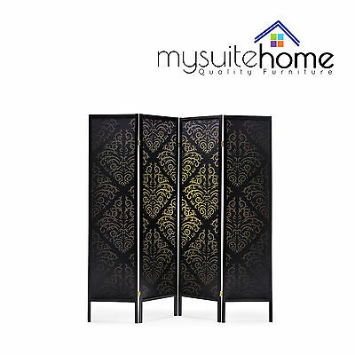 Brand New Timber Wooden Black Patterned 4 Panel Fold Screen Room Divider Stand