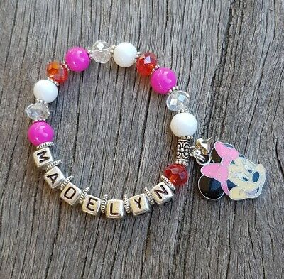 Girls Personalised Name - MINNIE MOUSE Inspired Charm Pink Bead Bracelet
