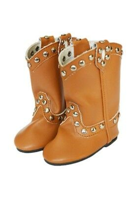 """Doll Clothes 18"""" Boots Cowgirl Studded Camel Fits American Girl Dolls"""