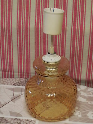 VINTAGE FRENCH ELECTRICAL CHANDELIER LANTERN  1970's OCHER RIBBED GLASS