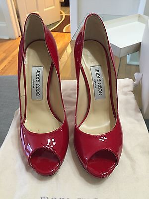70e17995a1b JIMMY CHOO QUIET Patent-leather Pumps Red Size 6.5 Authenticity ...