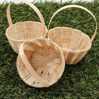60mm Round Handmade Artificial Weaving Basket Bamboo Wood Craft Decorate A1202